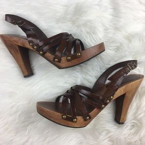 MIA Brown Leather & Wood Heels Sandals Shoes 8